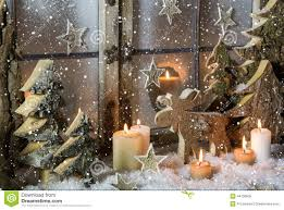 Window Decorations For Christmas by Natural Christmas Window Decoration Of Wood With Snow Stock Photo