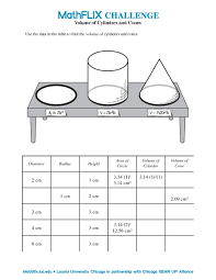 volume of cylinders and cones 7th 8th grade worksheet lesson
