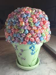 Candy Topiary Centerpieces - rainbow sprinkle cake u0026 a festive u201ccandy shop u201d themed birthday