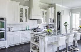 Grey Wood Floors Kitchen by Grey Granite Countertops Kitchens White Cabinets Wood Floors