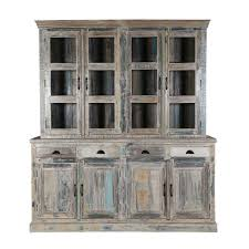 Kitchen Sideboard With Hutch Kitchen Winter White Reclaimed Wood Breakfront Hutch Sideboard