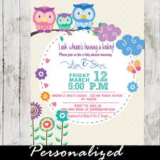couples baby shower owl couples baby shower invitations whimsical nature personalized