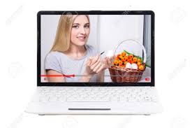 talking easter eggs talking about easter eggs on screen of laptop isolated stock