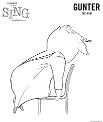 sing coloring pages pig gunter coloring pages printable
