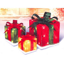 3 glistening gift box lighted yard decoration