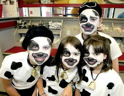 cow costume face paint like the bell cow appreciation day ideas