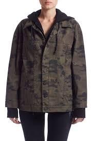 emmet hooded boyfriend jacket in rustic camo hudson jeans