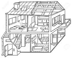 house drawing rooms in a house clipart black and white clipartxtras