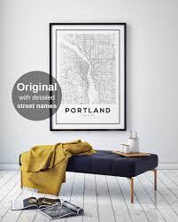 Portland City Map by Portland City Map Print Oregon Map Print Us Map Print Map