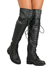womens combat style boots size 12 amazon com travis 05 lace up thigh high combat