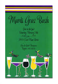 appealing mardi gras party invitation card design idea with green