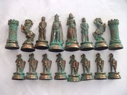 very heavy cast metal set of chess pieces no board good