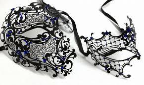 black and white mardi gras masks blue rhinestones phantom men woman venetian masquerade metal