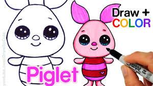 draw color piglet easy winnie pooh disney