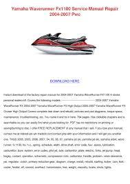 yamaha waverunner fx1100 service manual repai by tamera uriegas