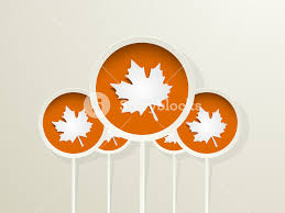 happy thanksgiving day concept with autumn leaves on orange royalty