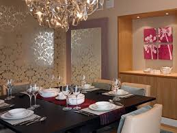 silver foil wallpaper dining room contemporary with table runner