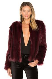 cupcakes and cashmere snyder faux fur jacket in merlot revolve