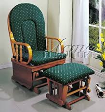 amazon com glider rocker chair with ottoman green cushion oak