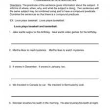 compound subject and compound predicate worksheets worksheets