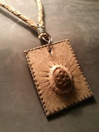stone pendant leather necklace images Leather necklace leather pyrography stone wire by dustyshad0w jpg