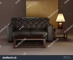 leather classic sofa table night interior stock illustration