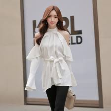 belted blouse 2017 autumn slim shoulder blouses white