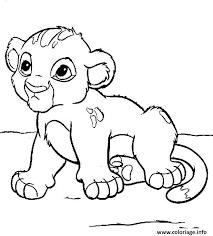 Coloriage animaux mignon bebe lion  JeColoriecom