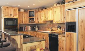 kitchen rustic hickory kitchen cabinets with black oven and gas