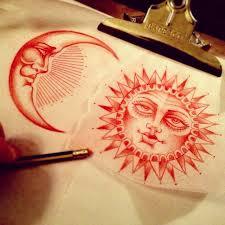sun moon illustration 3 tattoos moon