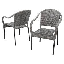 sunset set of 2 wicker patio chairs gray christopher knight
