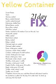 crystal p fitness and food 21 day fix yellow food list healthy