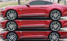 Red Mustang With Black Stripes Rocker Stripe Decal Kit For 2015 2016 2017 Mustang Pfyc