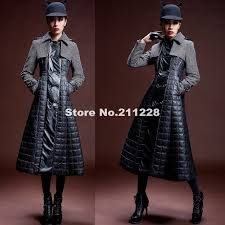 autumn womens wool thick full length trench coat winter pu