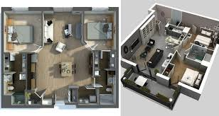 floor plan 3d house building design 20 awesome 3d apartment plans with two bedrooms part 2
