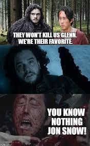 Glenn Walking Dead Meme - jon snow knows nothing glenn walking dead glenn walking dead