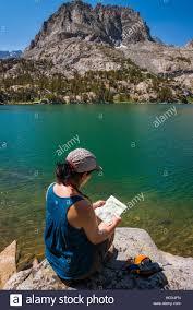 Sierra Nevada Mountains Map Hiker Reading Map On The Shore Of Big Pine Lake 5 John Muir