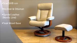 scansit 110 recliner chair and ottoman sandel leather with teak