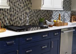 european inspired kitchen in classic navy blue and white color