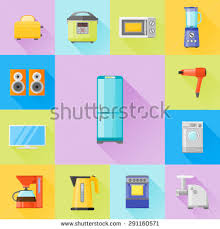 Microwave And Toaster Set Set Home Appliances Flat Icons Coffee Stock Vector 291160571