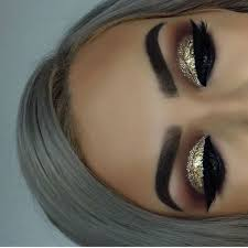 make up tips for salt and pepper hair nice grey hair and gold glitter eye makeup ladystyle