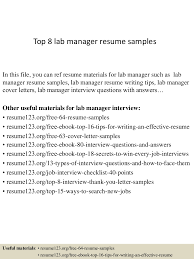 Lab Resume Examples by Top8labmanagerresumesamples 150402093755 Conversion Gate01 Thumbnail 4 Jpg Cb U003d1427985519
