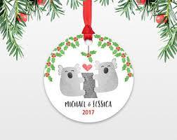 personalized christmas ornament elephant couple engaged