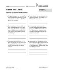 guess and check word problems 4th 6th grade worksheet lesson