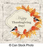 vector clipart of thanksgiving day greeting card background with