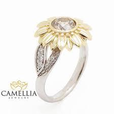 sunflower engagement ring camellia jewelry on wanelo