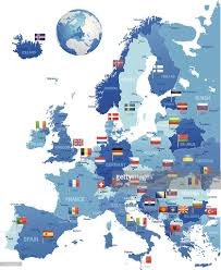 Western Europe Map by Europe Map With Flag Pins Vector Art Getty Images