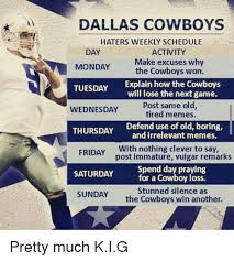 Dallas Cowboy Hater Memes - dallas cowboys haters weekly schedule day monday tuesday explain