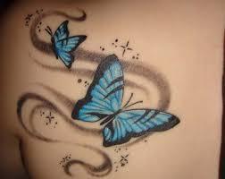 pink and blue butterflies tattoos