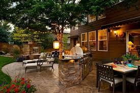 Outdoor Kitchen Lighting Ideas Backyard Garden Patio Ideas With Outdoor Kitchen And Lighting